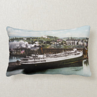 Anchor Line Dock  Marquette Michigan 1908 Vintage Lumbar Pillow
