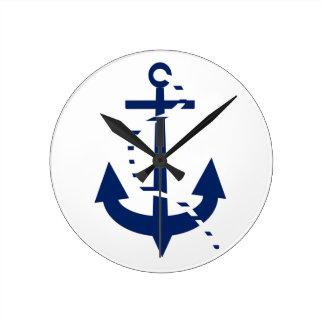 Anchor & Line Navy Clock