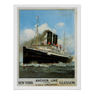 Anchor Line ~ New York - Glasgow Poster