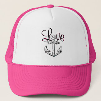 Anchor Love cute nautical  beach cottage  hat pink