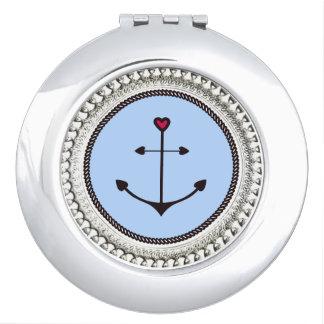 Anchor-love-Round* -Silver Ornate II Compact Mirror