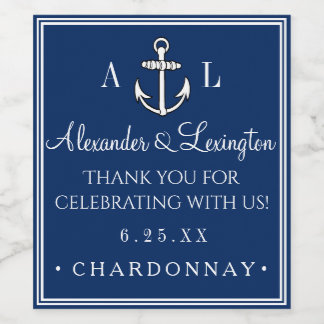 Anchor Monogram Nautical Wedding Guest Favor Wine Label