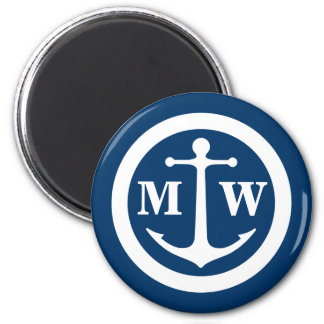 Anchor Monogram Round Magnet