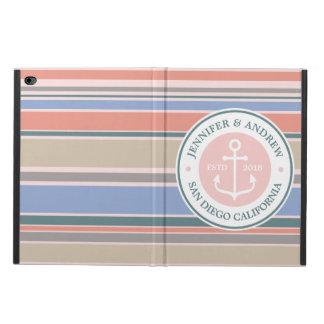 Anchor Monogram Trendy Stripes Pink Nautical Beach