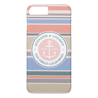 Anchor Monogram Trendy Stripes Pink Nautical Beach iPhone 7 Plus Case