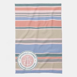 Anchor Monogram Trendy Stripes Pink Nautical Beach Kitchen Towel