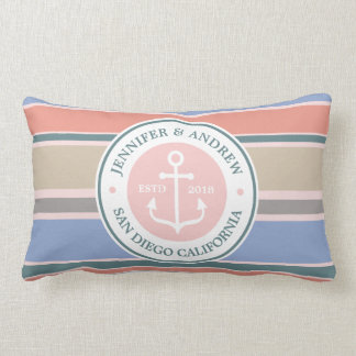Anchor Monogram Trendy Stripes Pink Nautical Beach Lumbar Pillow