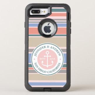Anchor Monogram Trendy Stripes Pink Nautical Beach OtterBox Defender iPhone 7 Plus Case