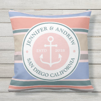 Anchor Monogram Trendy Stripes Pink Nautical Beach Outdoor Pillow