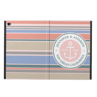 Anchor Monogram Trendy Stripes Pink Nautical Beach Powis iPad Air 2 Case