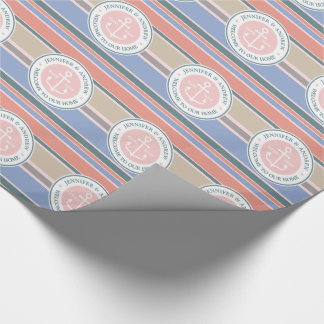 Anchor Monogram Trendy Stripes Pink Nautical Beach Wrapping Paper