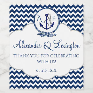 Anchor Monogram Wedding Favor Navy Blue Chevron Wine Label