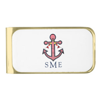 Anchor Monogram with Red Stripes & Bunting Banner Gold Finish Money Clip