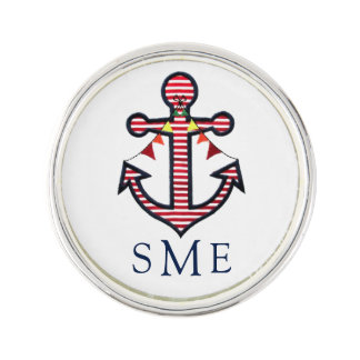 Anchor Monogram with Red Stripes & Bunting Banner Lapel Pin