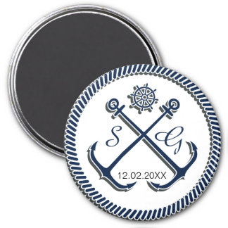 Anchor Monograms, Nautical wedding save the date 3 Inch Round Magnet