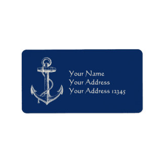 Anchor Nautical Address Label Gift Navy Blue White