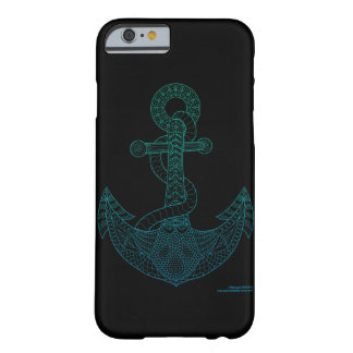 Anchor Nautical Art Outline Sea Blue Ombre Black Barely There iPhone 6 Case