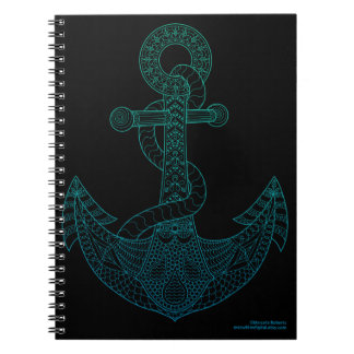 Anchor Nautical Art Outline Sea Blue Ombre Black Notebooks