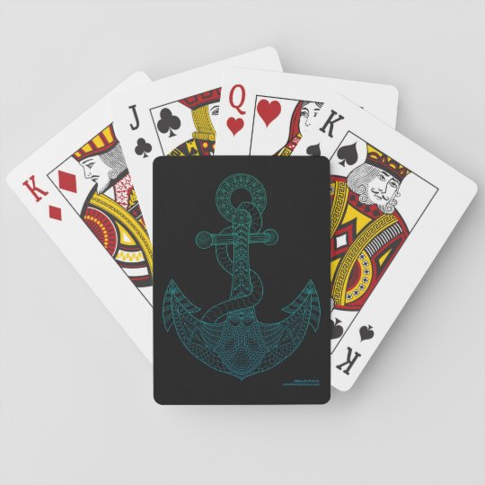 Anchor Nautical Art Outline Sea Blue Ombre Black Playing Cards