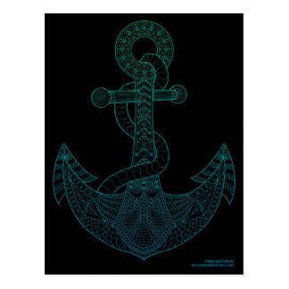 Anchor Nautical Art Outline Sea Blue Ombre Black Postcard