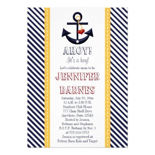 Anchor Nautical Baby Shower Invitations Yellow