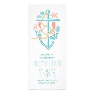anchor nautical beach wedding program rack cards