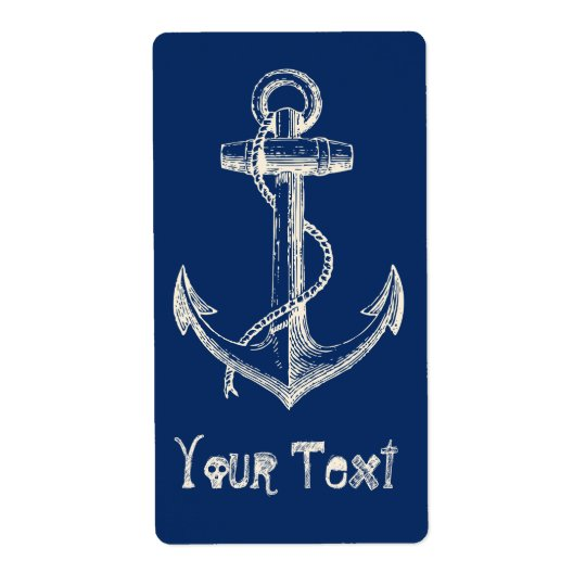 Anchor Nautical Custom Label Gift Navy Blue White