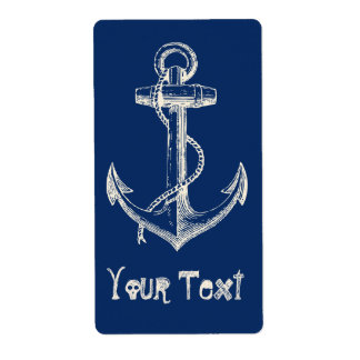 Anchor Nautical Custom Label Gift Navy Blue White Shipping Label