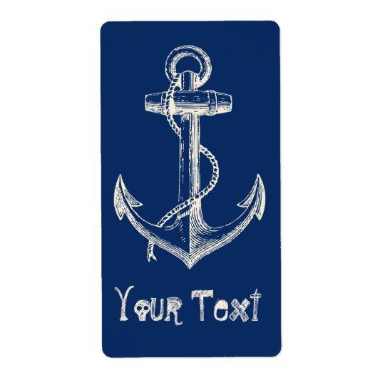 Anchor Nautical Custom Label Gift Navy Blue White Shipping Label