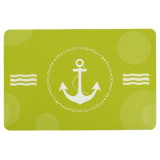 Anchor Nautical Modern Lime Green Floor Mat