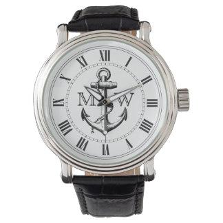 Anchor, Nautical Monogram Wristwatch