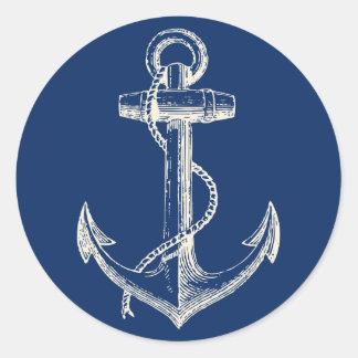 Anchor Nautical Sticker Decor Navy Blue White