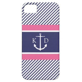 Anchor & Nautical Stripes & Monogram Navy &Pink iPhone 5 Covers