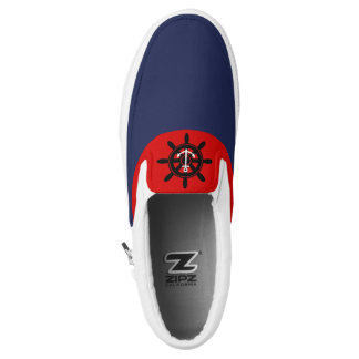 Anchor Nautical Wheel Navy Red Slip On Sneaker