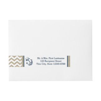 Anchor Navy Blue and Burlap Zigzag Wraparound Address Label