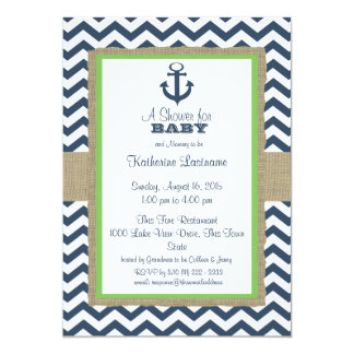 Anchor Navy Blue ZigZag Baby Shower Card