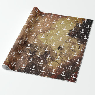 Anchor on amber texture background wrapping paper