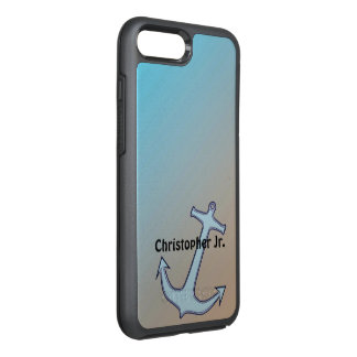 Anchor on Aqua and Tan Personalized OtterBox Symmetry iPhone 7 Plus Case