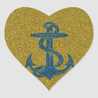 anchor on blue and gold glitter effect heart sticker
