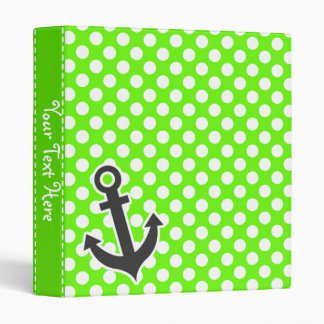 Anchor on Bright Green Polka Dots Binders