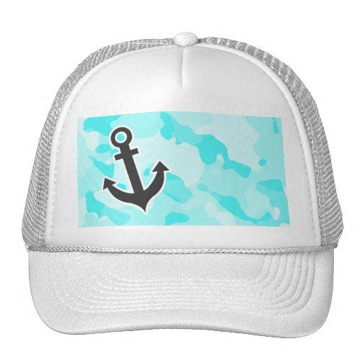 Anchor on Celeste Camo; Camouflage Mesh Hat