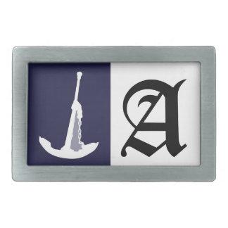 Anchor on navy blue background. belt buckle