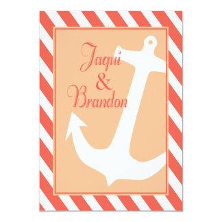 "Anchor on Stripes   coral peach Wedding 5"" X 7"" Invitation Card"