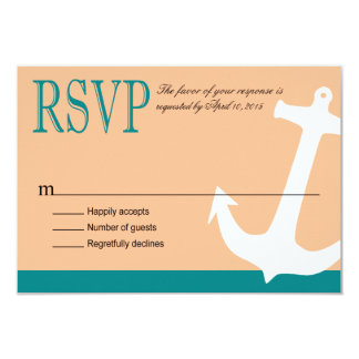 "Anchor on Stripes Nautical RSVP   teal peach 3.5"" X 5"" Invitation Card"