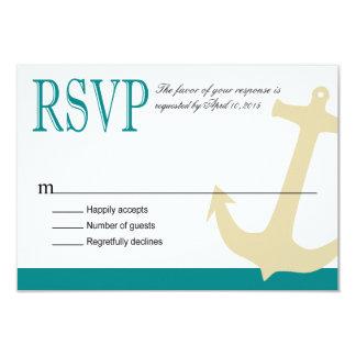 "Anchor on Stripes Nautical RSVP   teal white 3.5"" X 5"" Invitation Card"