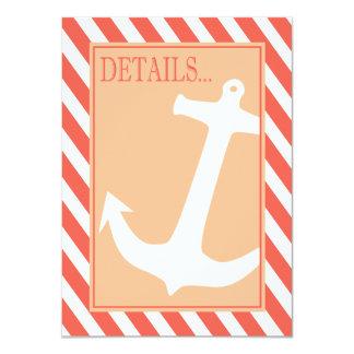 "Anchor on Stripes - Reception Details coral peach 4.5"" X 6.25"" Invitation Card"