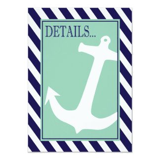 "Anchor on Stripes - Reception Details   navy aqua 4.5"" X 6.25"" Invitation Card"