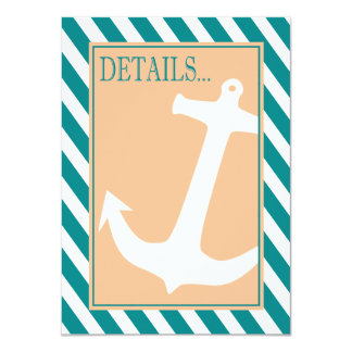 "Anchor on Stripes - Reception Details   teal peach 4.5"" X 6.25"" Invitation Card"