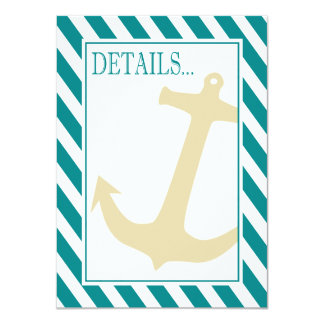 """Anchor on Stripes - Reception Details   teal white 4.5"""" X 6.25"""" Invitation Card"""