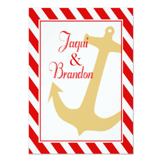 "Anchor on Stripes   red white Wedding 5"" X 7"" Invitation Card"